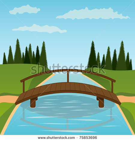 River clipart simple bridge #8