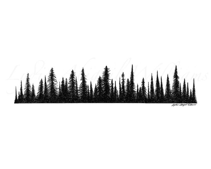 Pine clipart tree line Evergreen Line Silhouette mountain treeline