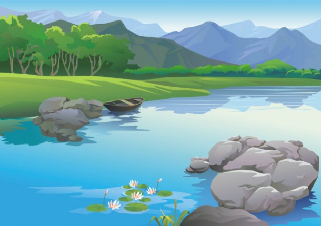 River Landscape clipart mountain river Download river background boat lonly