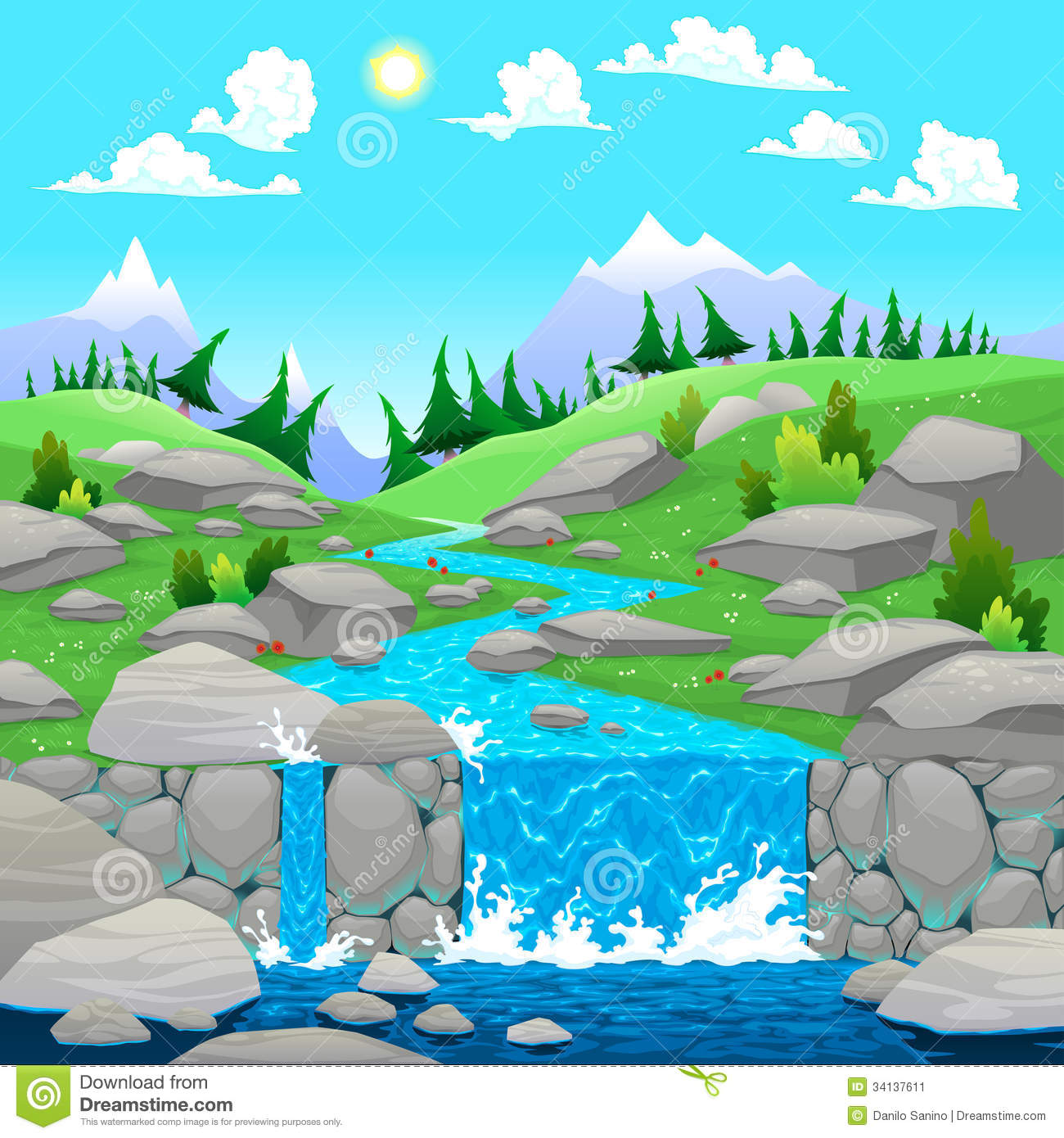 River Landscape clipart mountain river River clipart Clipart Clip Collection