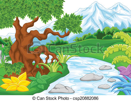 River Landscape clipart mountain river Mountain csp20882086 illustration with Vector