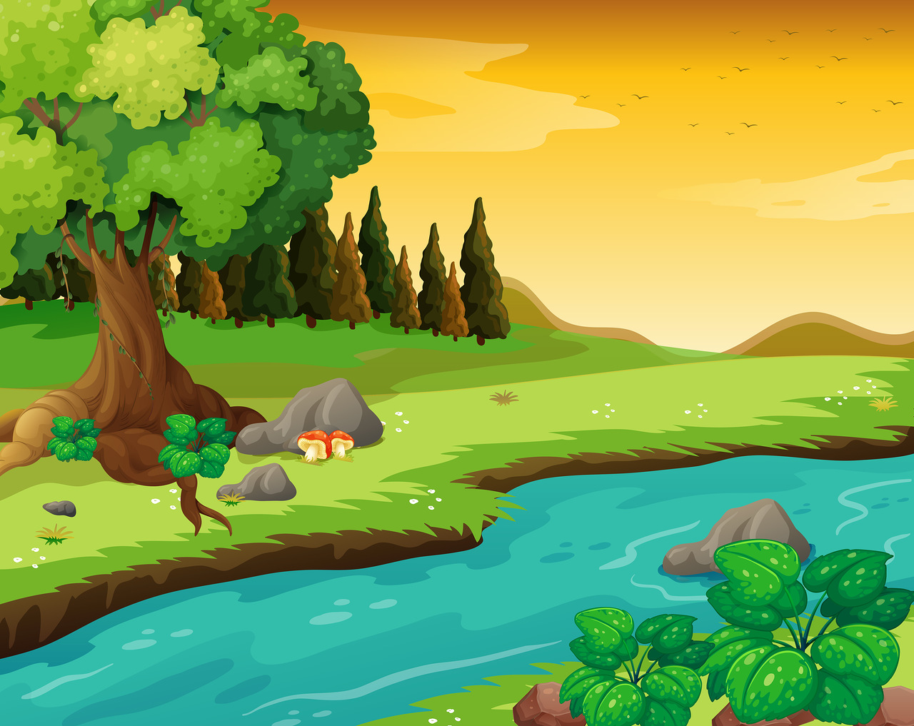 River Landscape clipart cartoon #13
