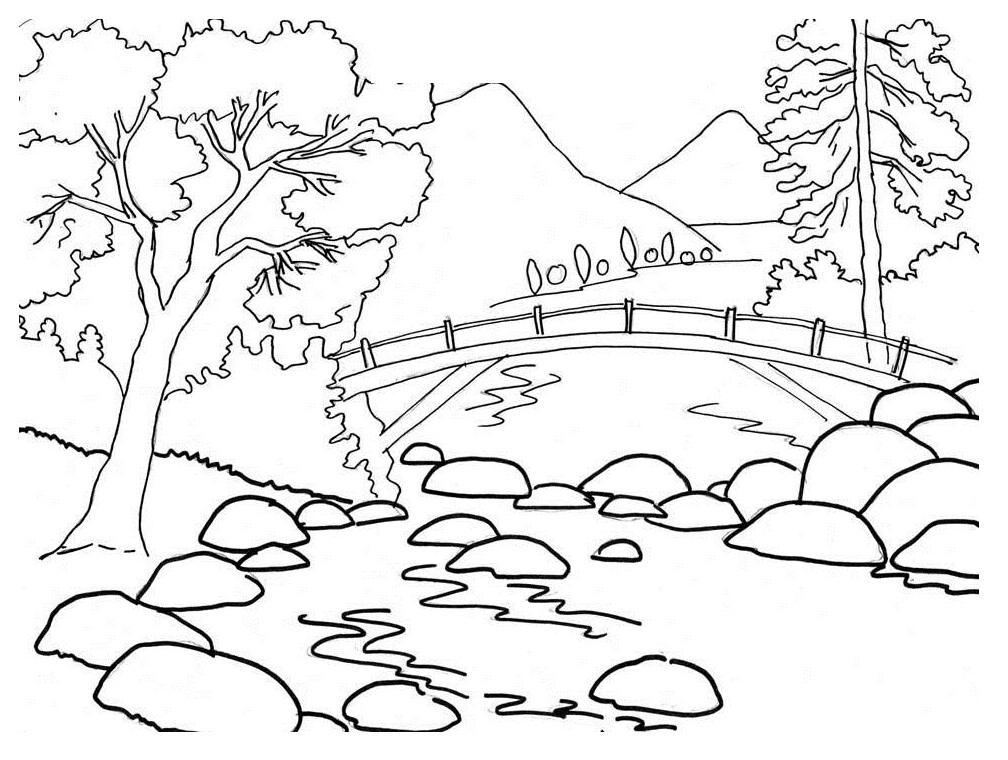 Drawn river colouring page For Coloring Drawing Pages Landscapes