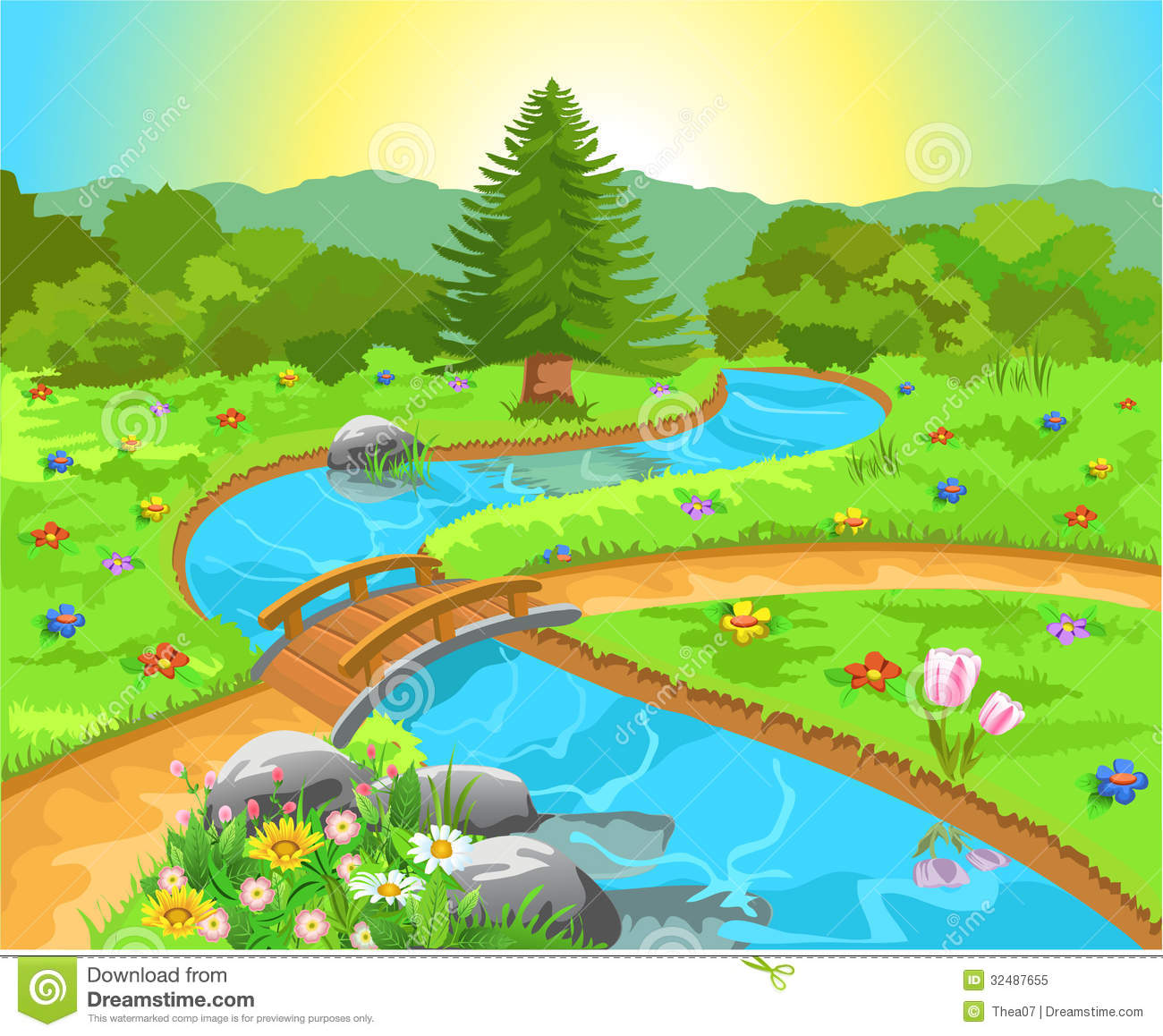 Wilderness clipart spring water Spring Nature Scenes Landscape Clipart