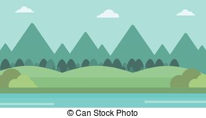 River clipart horizontal Of landscape background with of