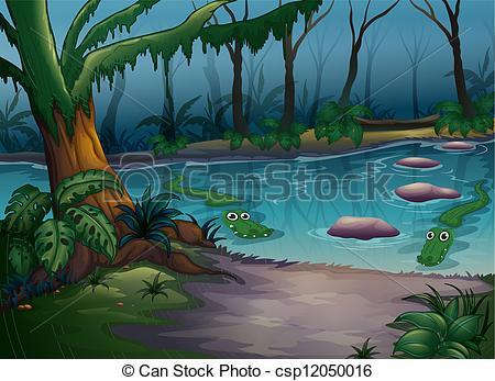 Crocodile clipart lake In of Vector river Art