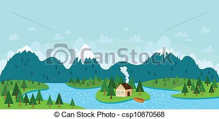 River Landscape clipart mountain river Vector Landscape Landscape mountains Clip