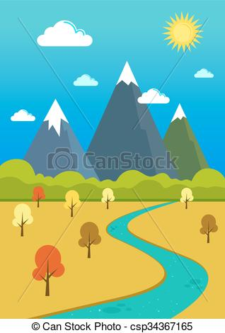 River Landscape clipart mountain river  Natural Landscape Valley Mountains
