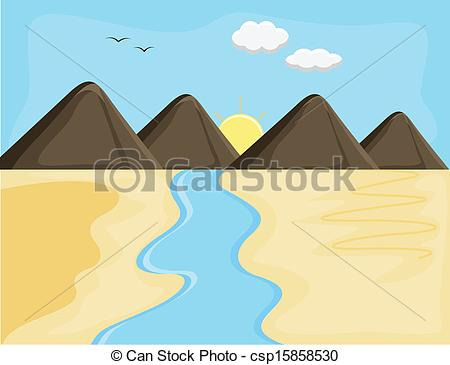 River Landscape clipart mountain river Sunrise csp15858530 Art River Vectors