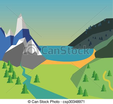 River Landscape clipart mountain sea Sea   trees; of