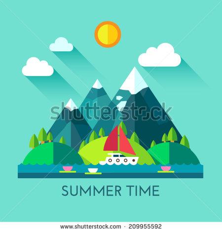 River Landscape clipart mountain sea Village village Color sun set