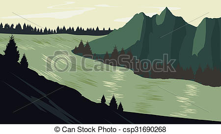 Wilderness clipart mountain view With of sunset landscape landscape