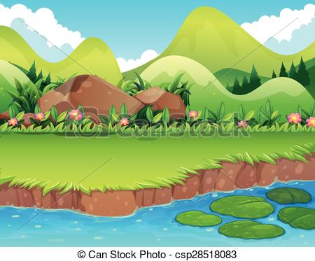 Serene clipart river scene Of with River bank scene