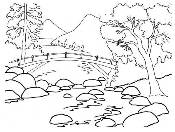 Scenic clipart black and white #7
