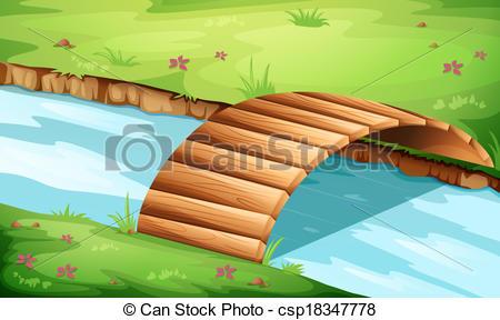 Bridge clipart river River at the river csp18347778