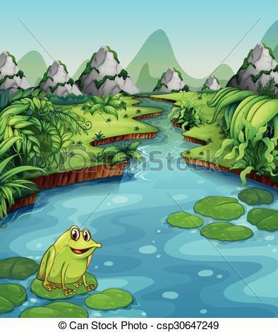 River Landscape clipart Illustration on River  of