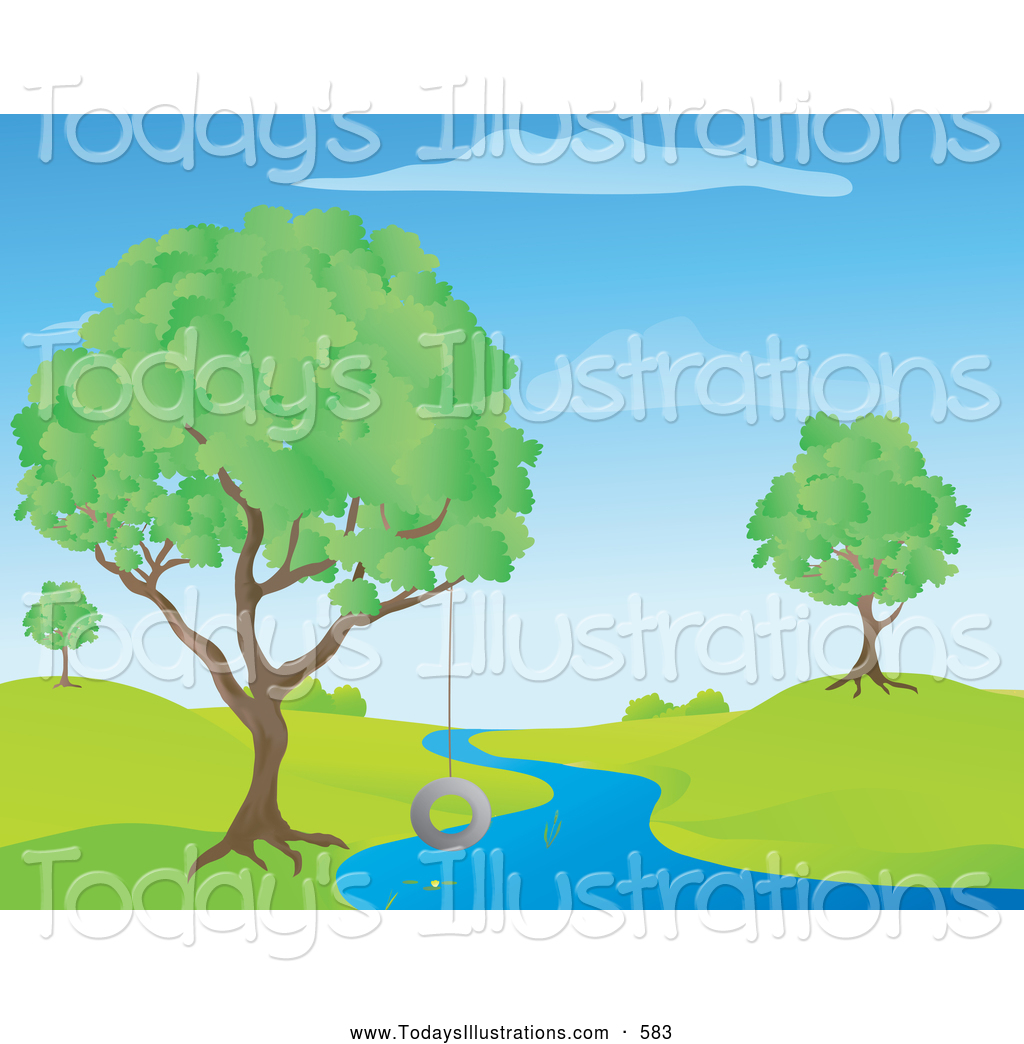 River Landscape clipart Of Lush a with Blue