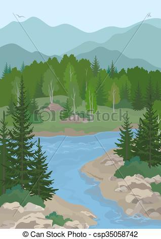 River Landscape clipart  Mountain Landscape of Birds