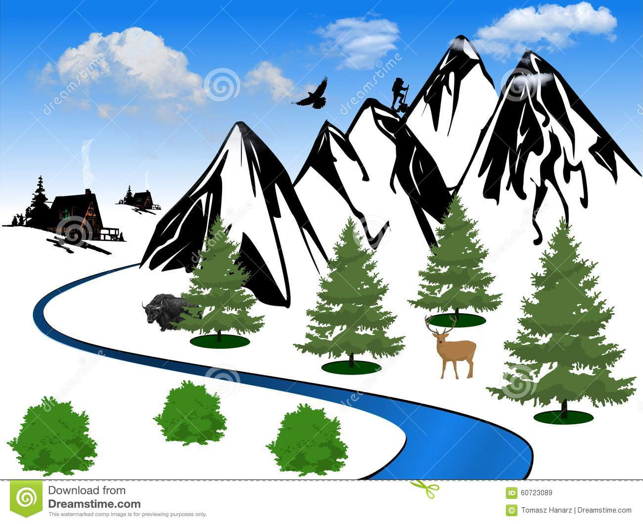 Scenic clipart mountain valley #14