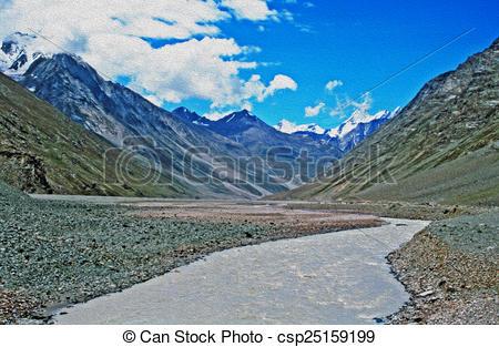 River Landscape clipart wilderness Stylization oil Illustration mountain river