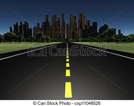 Asphalt clipart city road City csp11048528 of night csp11048528