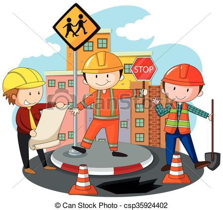 Road clipart road construction The  working construction People