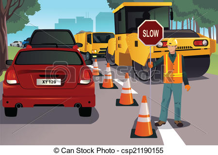Road clipart road construction Construction  working vector Flagger