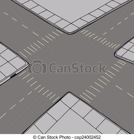 Road clipart road intersection #7