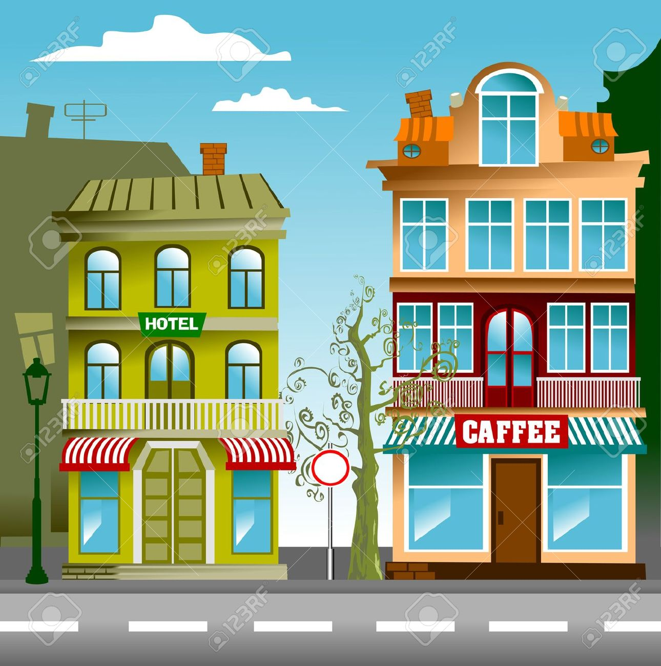 Old Town clipart Art Street Clipart Clip