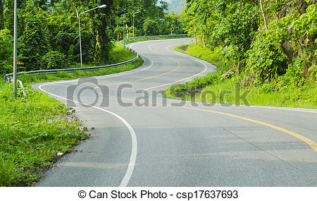 Asphalt clipart zigzag road  Stock along Asphalt with