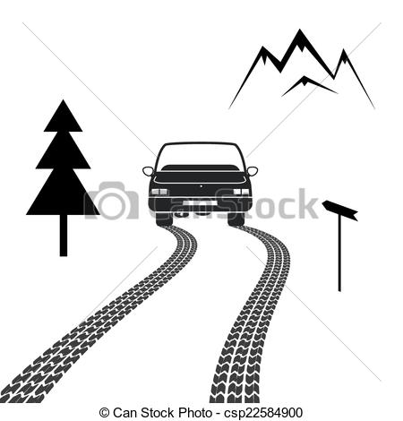 Roadway clipart mountain road With road tracks driving Car