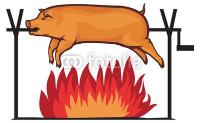 Roast clipart Pig roast: Pig roast Spit