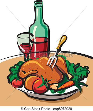 Roast clipart chiken Wine and wine chicken Clipart