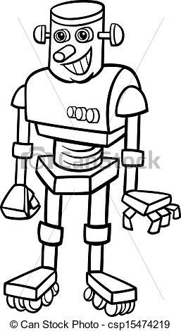 Robot clipart black and white Vector robot Art illustration illustration