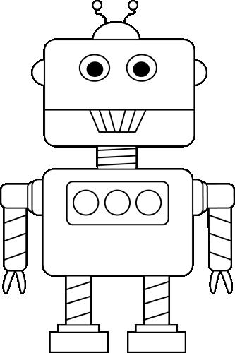 Robot clipart black and white White and Clip White Robot