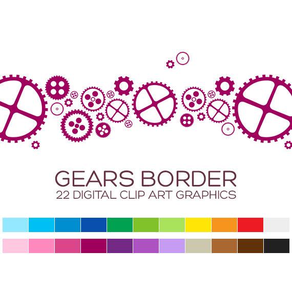 Robot clipart border Digital Frames Clipart Clipart Gears