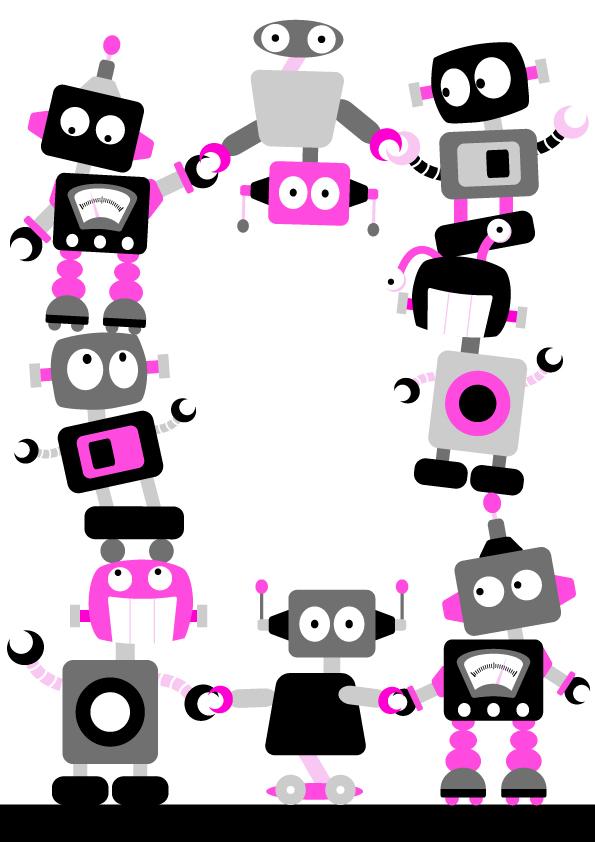Robot clipart border Download border Free  Art