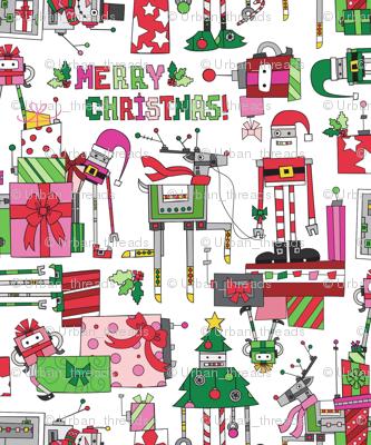 Robot clipart christmas Christmas fabric Spoonflower Christmas Robot