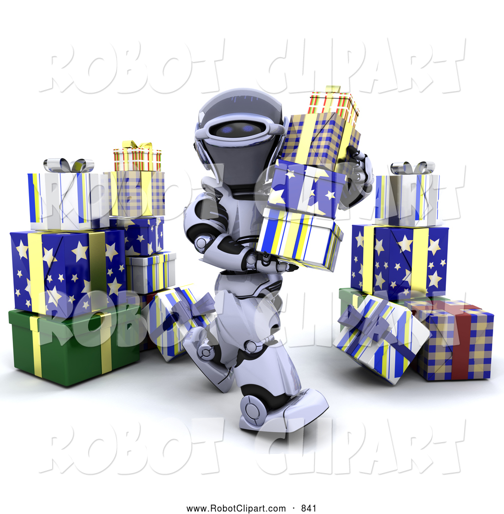 Robot clipart christmas Of Gifts 3d 3d Christmas