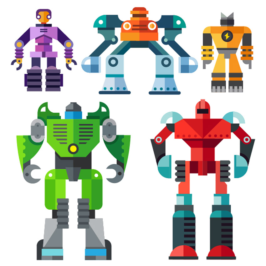 Robot clipart generic 3009 Earth Robots Flat Illustration