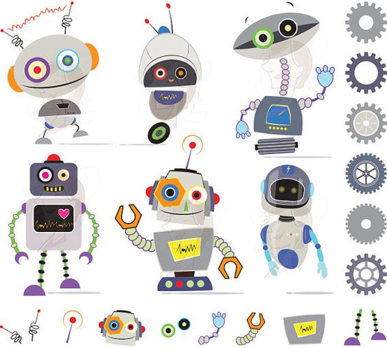 Robot clipart gray For Gray Clip Robot Birthday