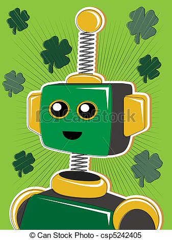 Robot clipart green Red of style wi