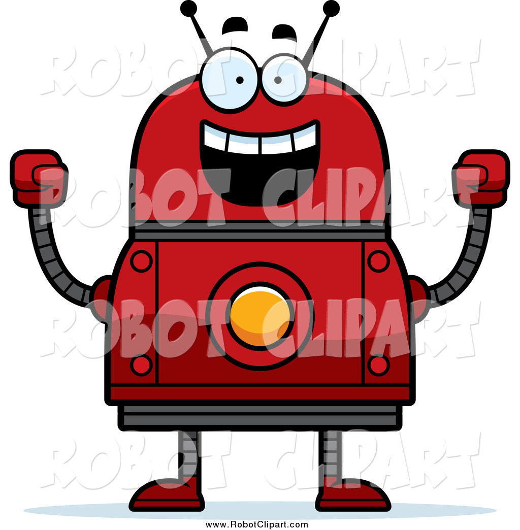 Robot clipart happy Happy Cheering a Robot of