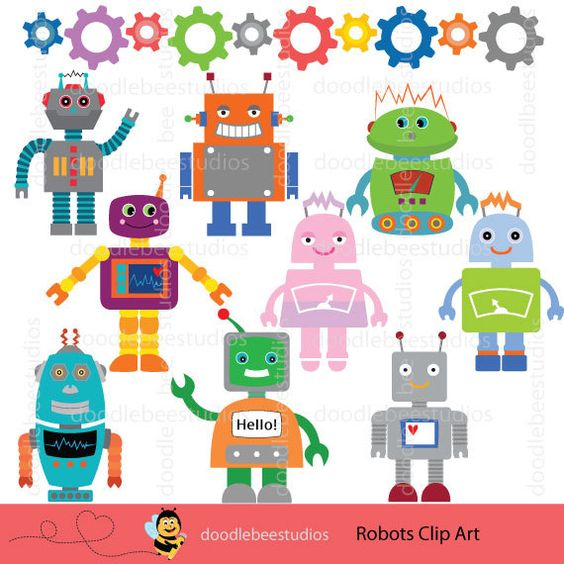 Robot clipart nuts and bolt Doodlebeestudios by Robot Set Set