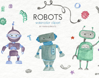 Robot clipart nuts and bolt Instant Use Watercolor bolts Art