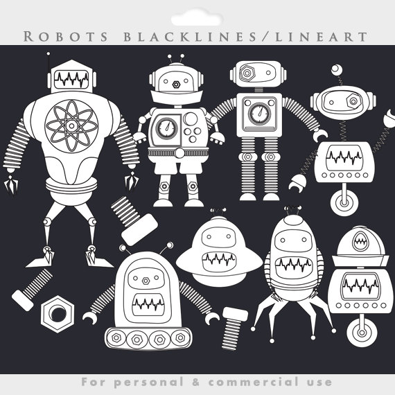 Robot clipart nuts and bolt Commercial robots clip blacklines similar