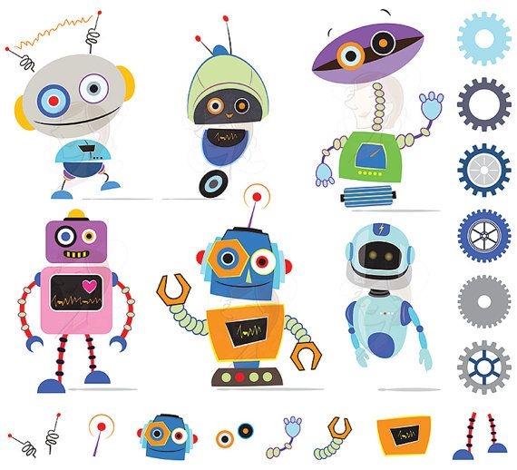 Robot clipart robot gear Instant DIY Download Birthday Clip