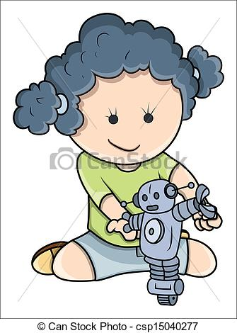 Robot clipart small  Playing of Girl Illustration