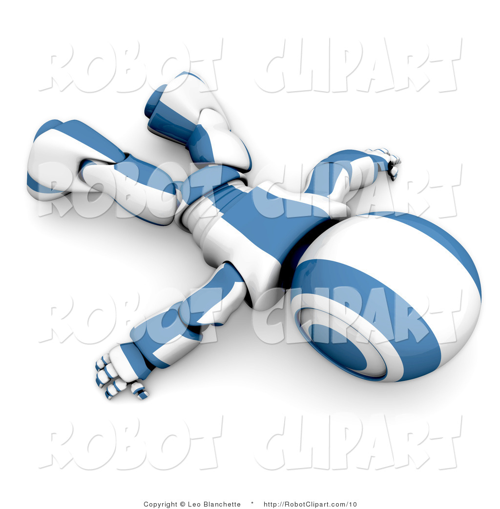Robot clipart tired Blue Blue Lying Floor the