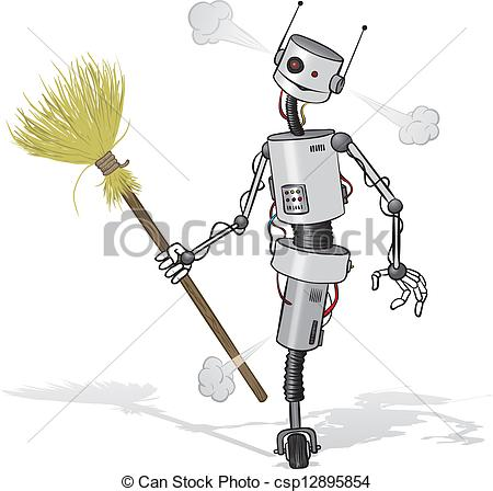 Robot clipart tired Vector illustration  cleaner Clipart